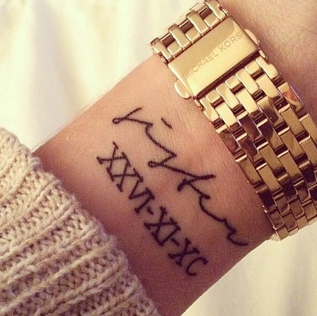 cool roman numeral chest tattoo for men