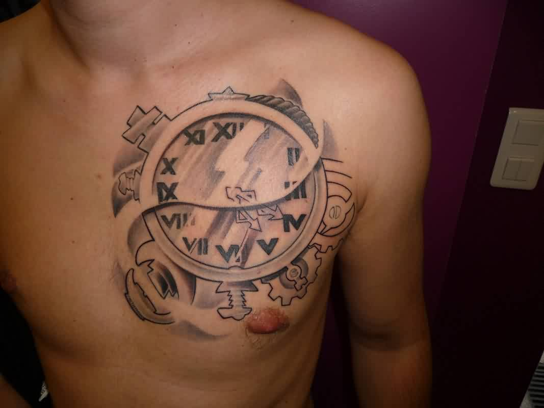 Beautiful Roman Numerals Clock Tattoo On Left Side Of Chest For Men