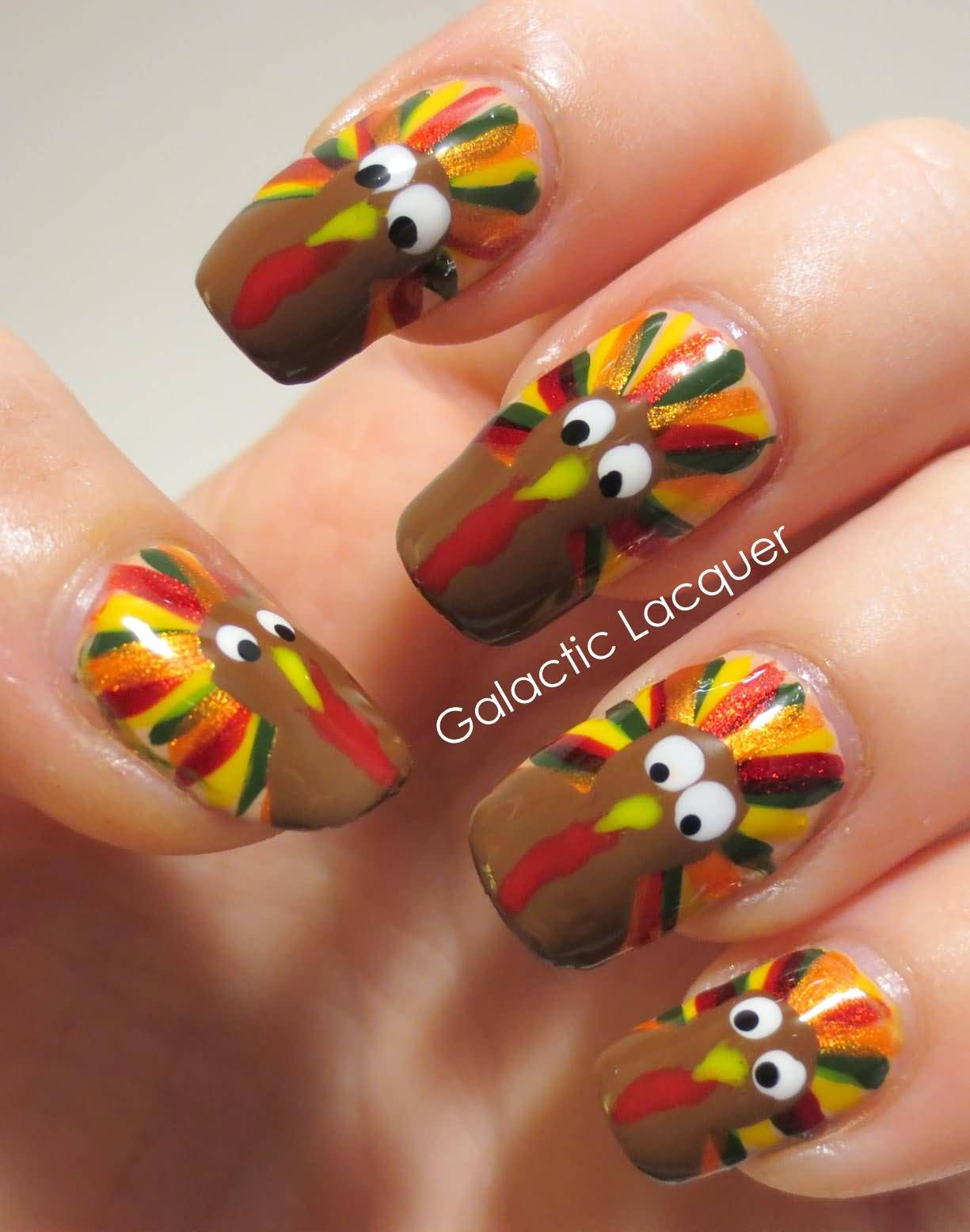 Beautiful Turkey Design Thanksgiving Nail Art - 25+ Latest Thanksgiving Nail Art Designs