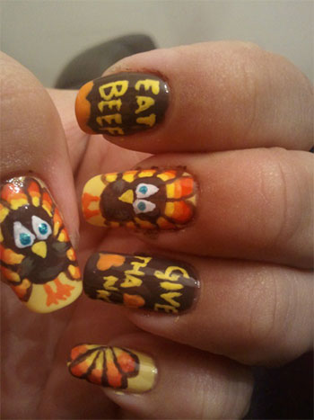 Beautiful Turkey Nail Art Design Idea For Thanksgiving