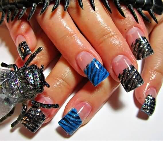 Black And Blue Glitter French Tip Zebra Print Nail Art