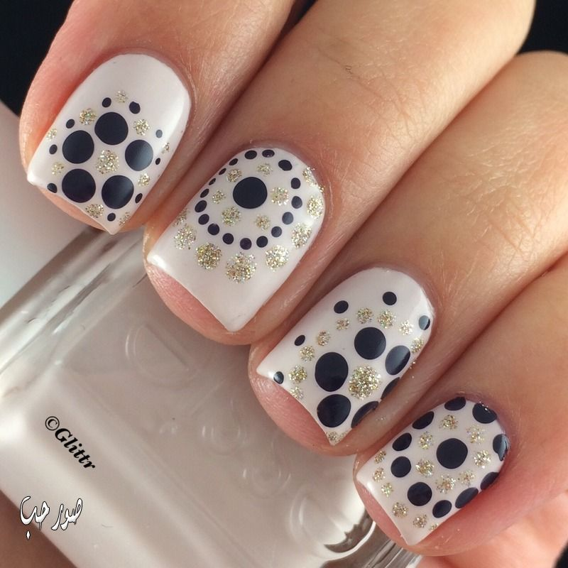 Black And Gold Glitter Polka Dots Nail Art On White Nails