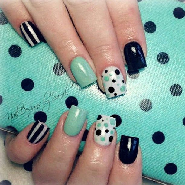 55 best polka dots nail art design ideas for trendy girls black and green polka dots nail art prinsesfo Image collections