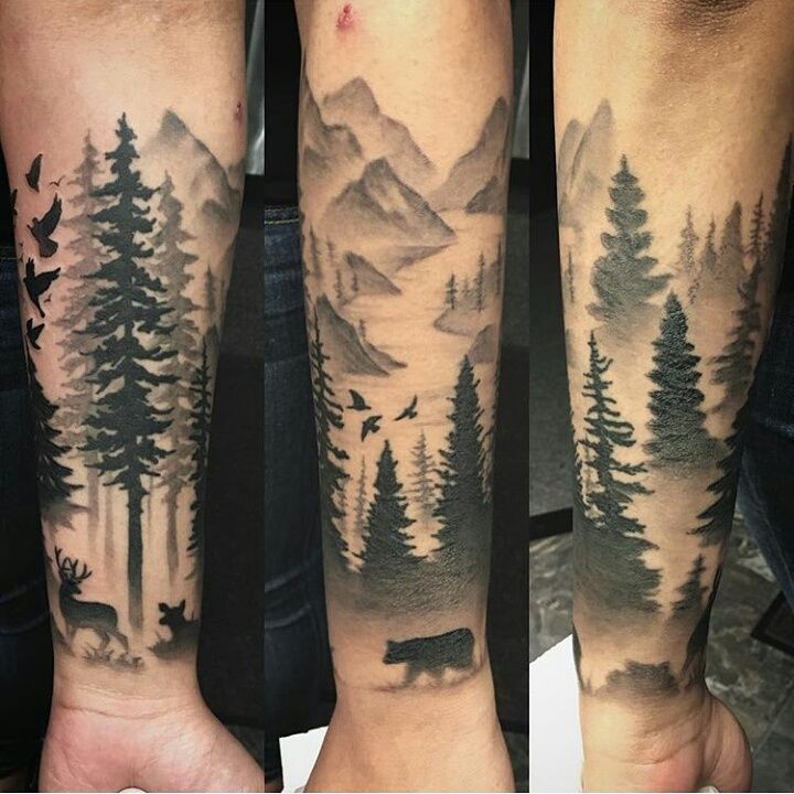 04dc619191ef7 Black And Grey Forest Tattoo On Forearm