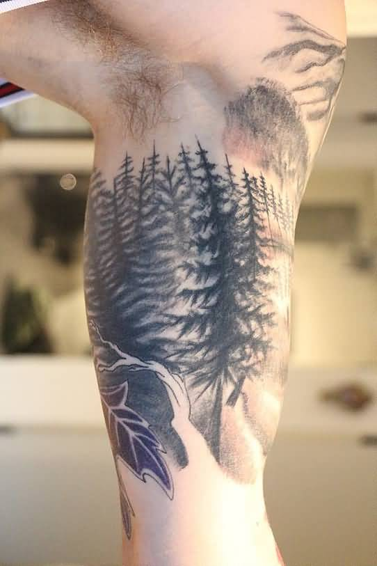 Black And Grey Forest Tattoo On Inner Bicep