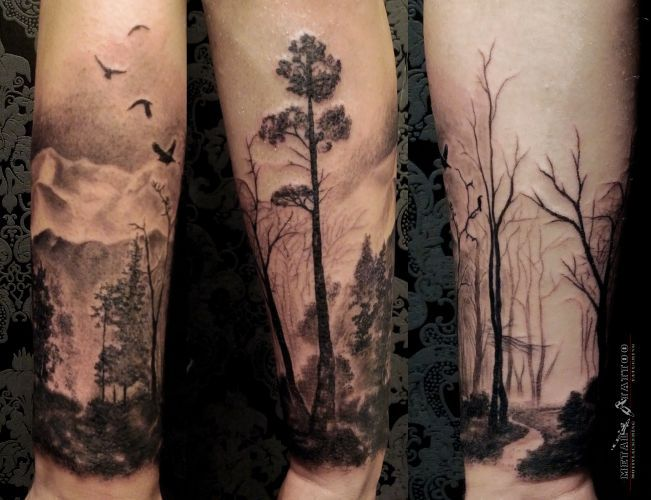 6b7aba815 Black And Grey Ink Forest Tattoo On Arm