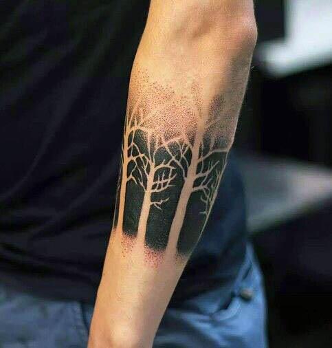 black  white dark forest tattoo  left arm
