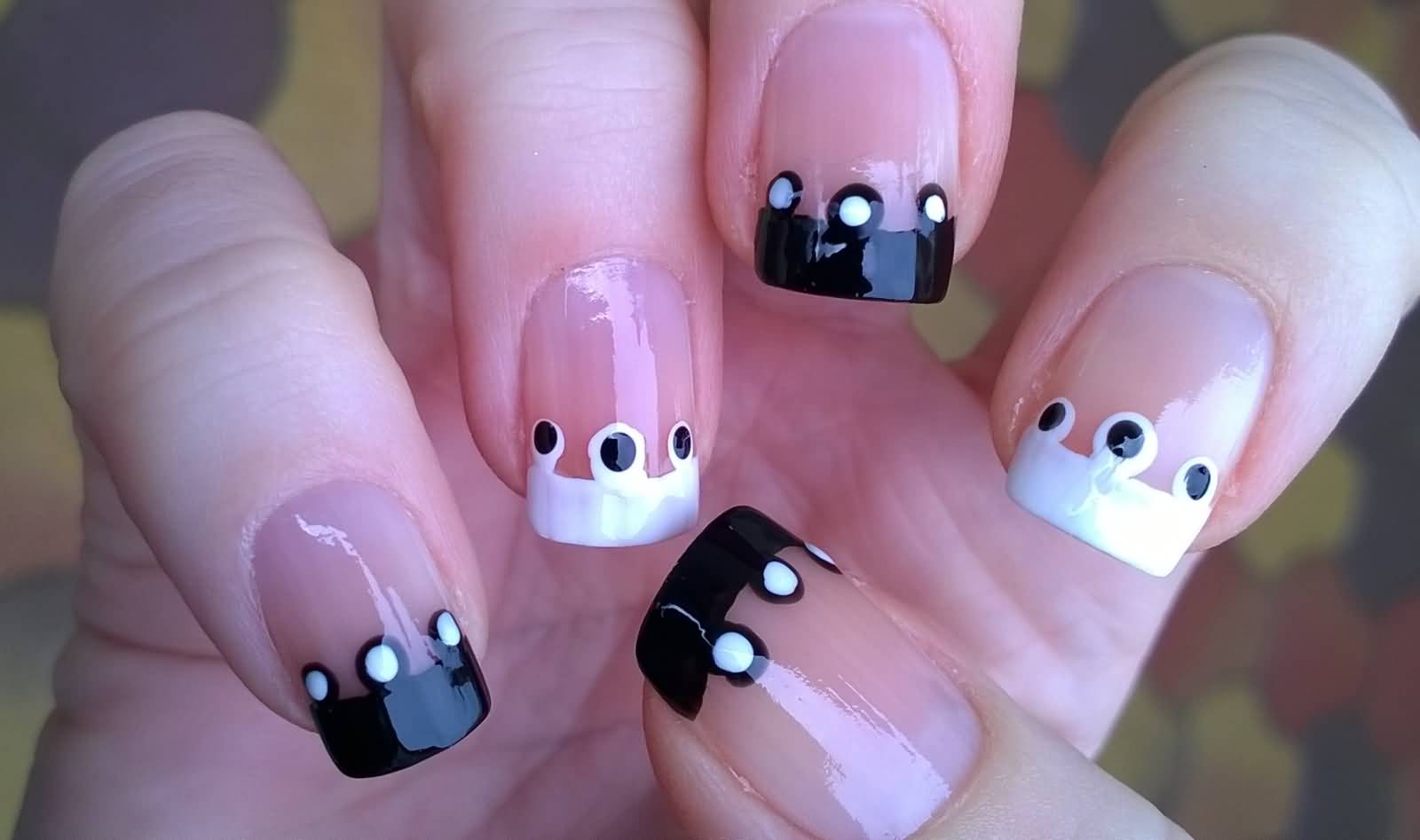 40+ Black And White Polka Dot Nail Art Designs For Trendy Girls