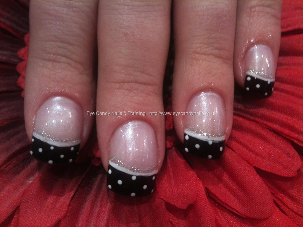 Black And White French Tip Polka Dots Nail Design Idea