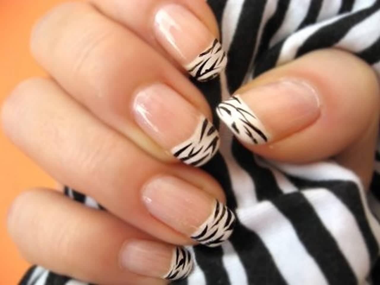 Black And White French Tip Zebra Print Nail Art