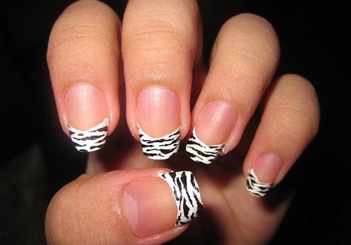 Black And White French Tip Zebra Print Nail Design Idea
