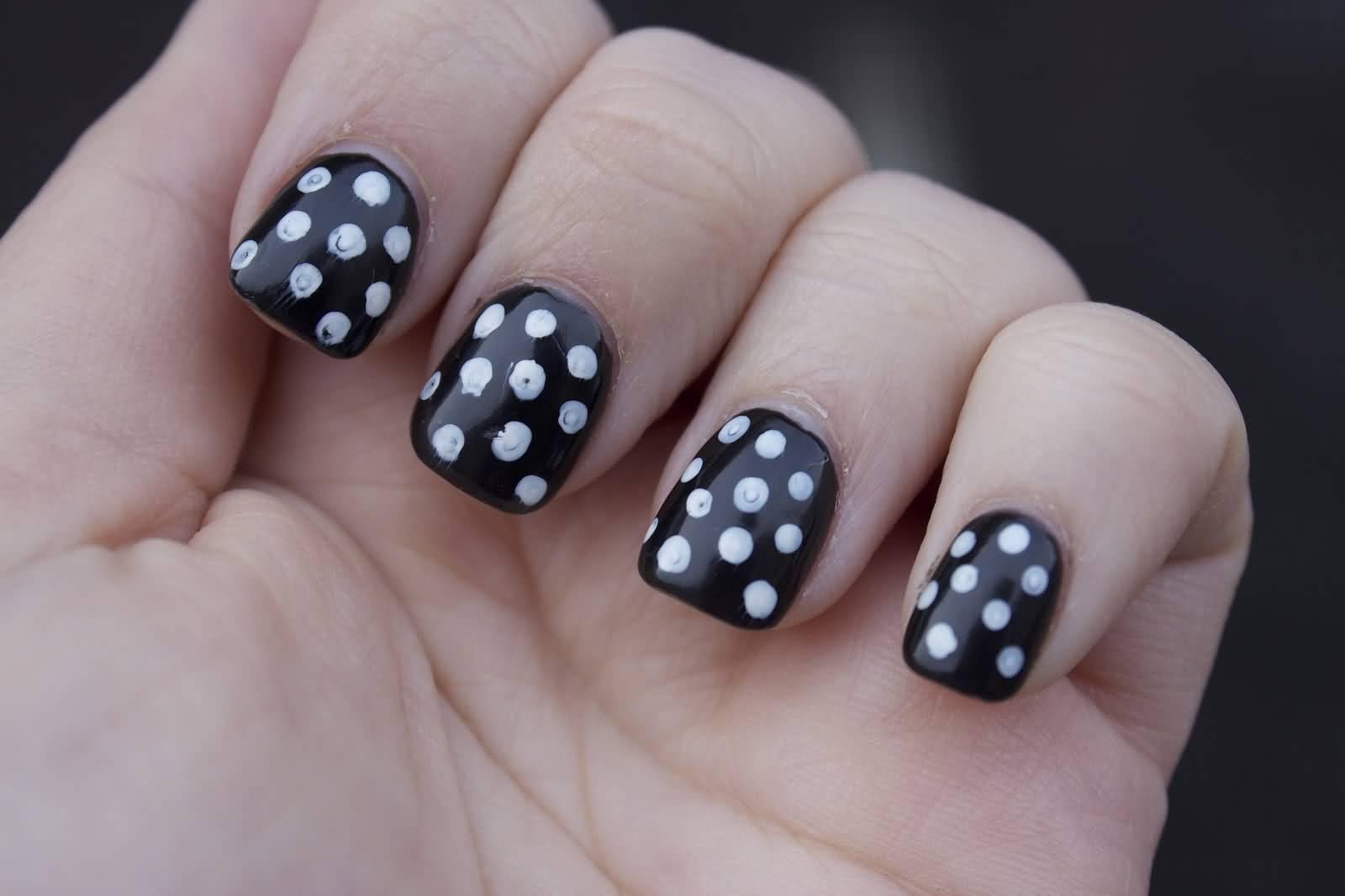 Black And White Glossy Polka Dots Nail Art