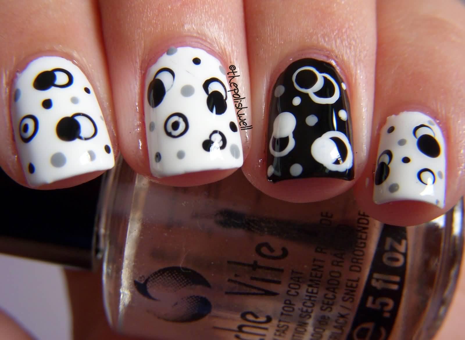 Black And White Glossy Polka Dots Nail Design Idea