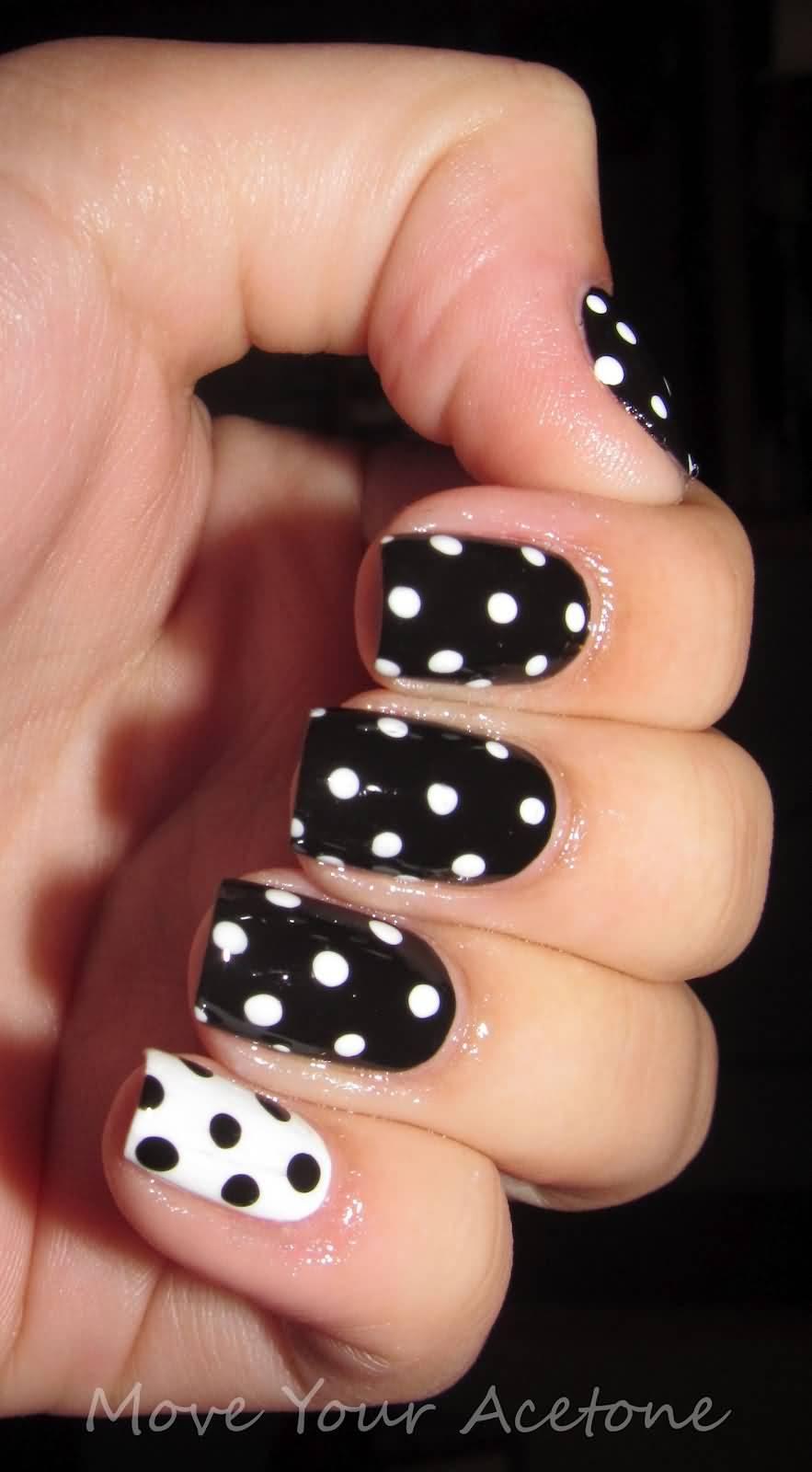 Black And White Glossy Polka Dots Nail Design
