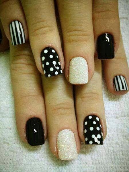 Black And White Polka Dots And Stripes Design Nail Art