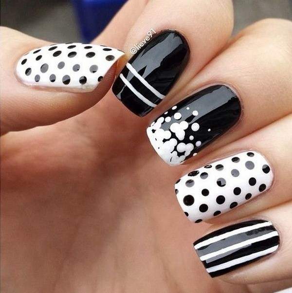 Black And White Polka Dots And Stripes Design