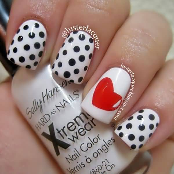 Black And White Polka Dots Nail Art With Accent Red Heart Design