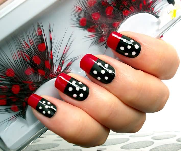 Black And White Polka Dots Nail Art With Red French Tip Design Idea