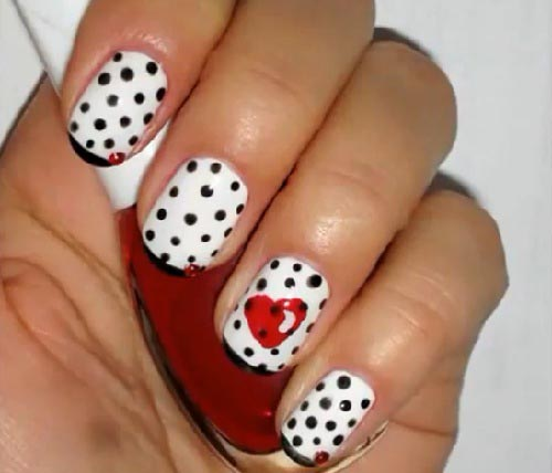 Black And White Polka Dots Nail Art With Red Heart Design