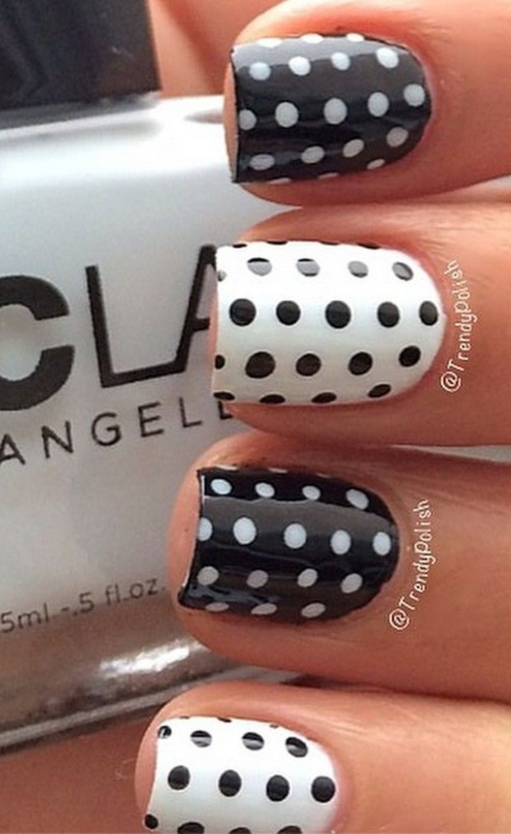 Black And White Polka Dots Nail Design
