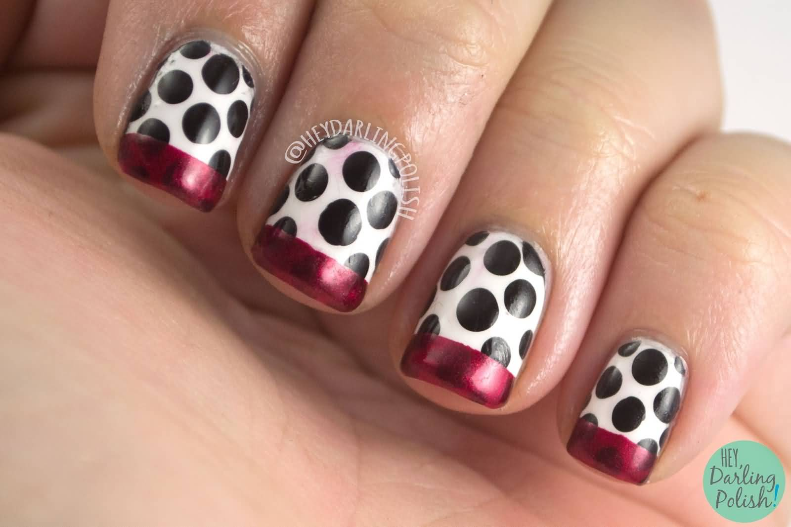 Black And White Polka Dots With Red French Tip