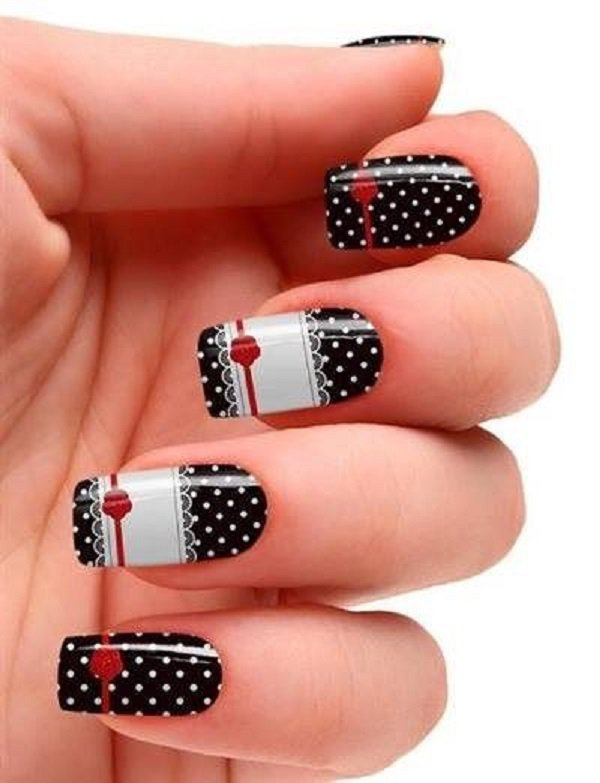 Black And White Polka Dots With Red Ribbon Design