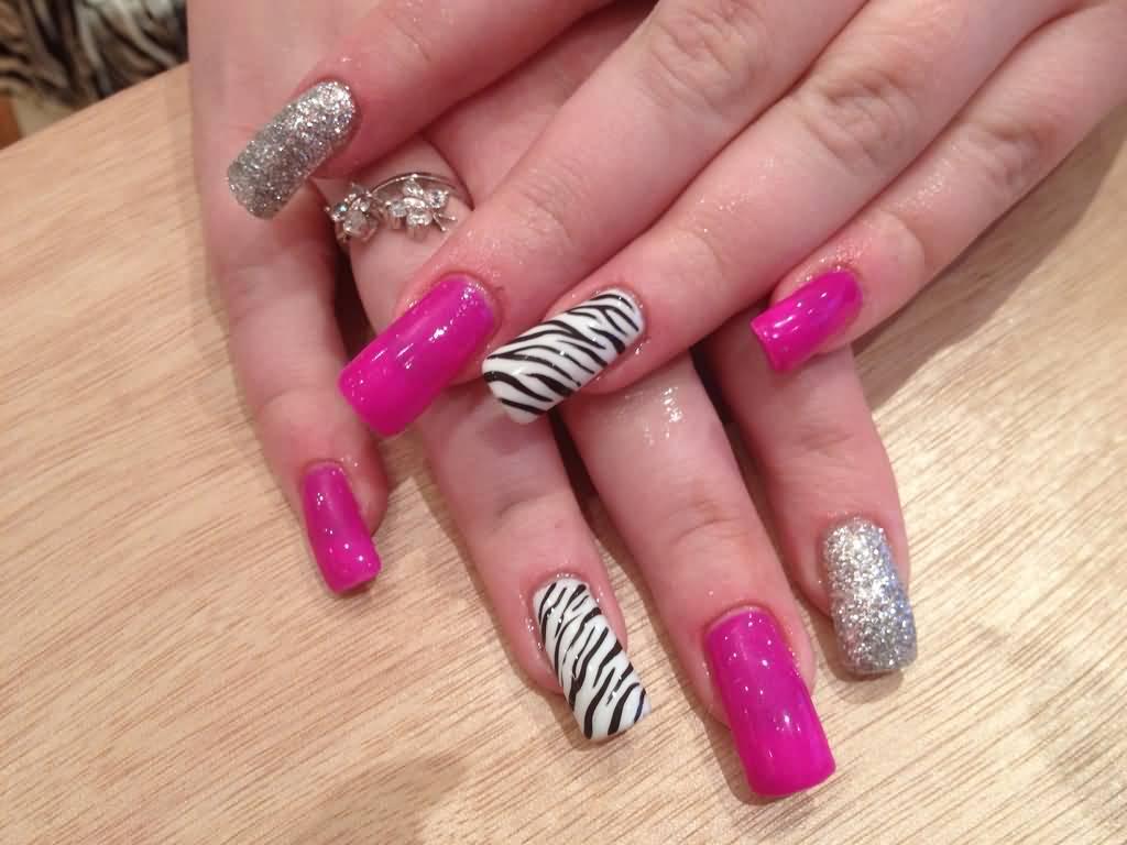 Black And White Zebra Print Nail Art