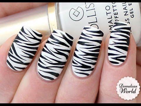 Black And White Zebra Print Nail Design
