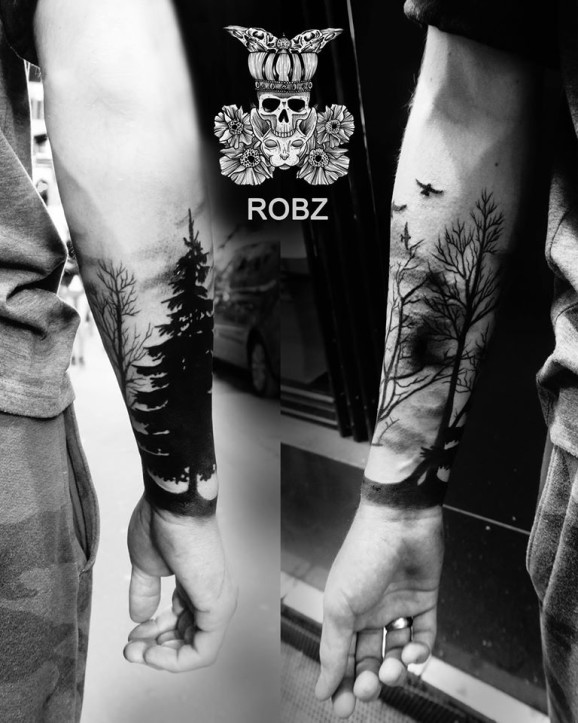 13 forearm forest tattoos. Black Bedroom Furniture Sets. Home Design Ideas