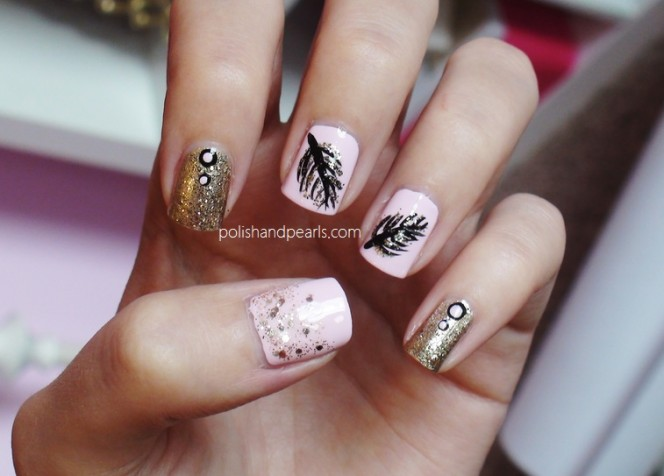 Black Feathers And Gold Glitter Nail Art