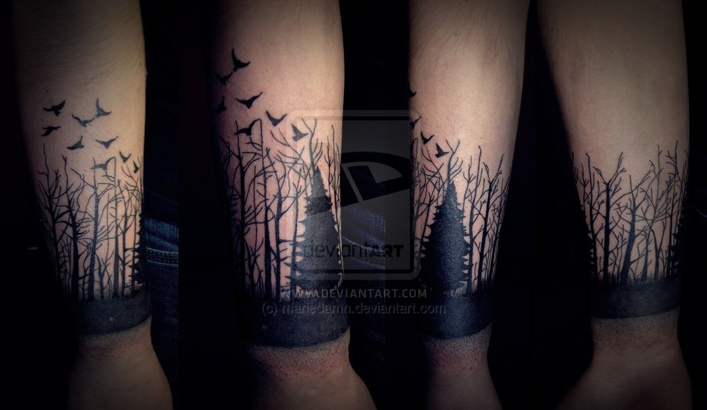 black flying birds and forest tattoo on arm by mariedamn. Black Bedroom Furniture Sets. Home Design Ideas