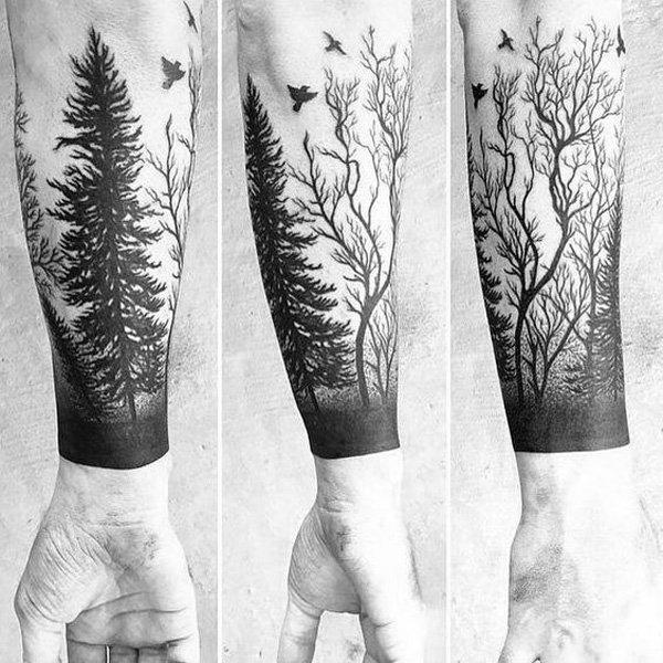 20 forest tattoos on sleeve. Black Bedroom Furniture Sets. Home Design Ideas