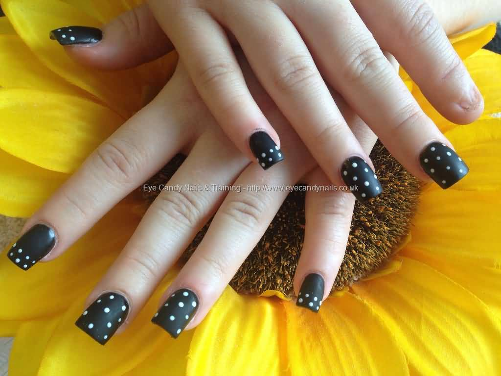Black Matte Nails With White Polka Dots Nail Art