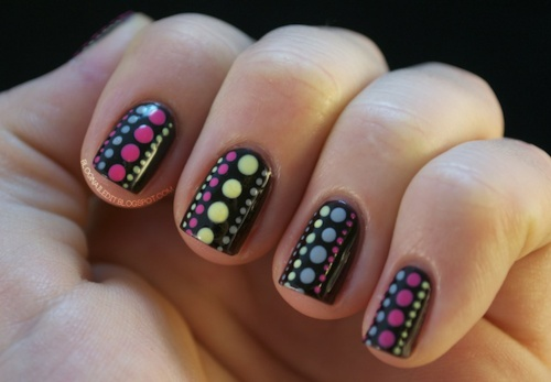 Black Nails With Polka Dots Nail Art For Short Nails - 65 Most Beautiful Polka Dots Nail Art Designs