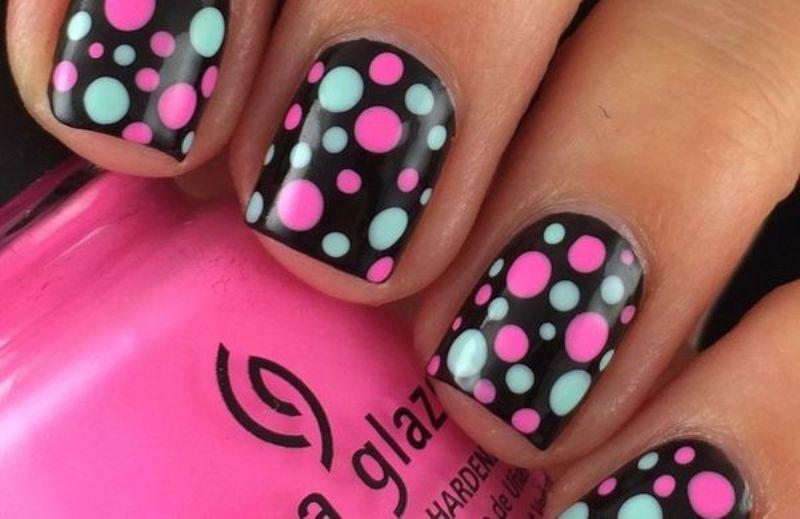 Black Nails With White And Pink Polka Dots Nail Art Design