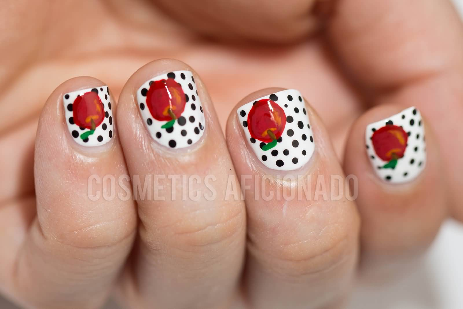 Black Polka Dots Nail Art With Red Rose Flower For Short Nails