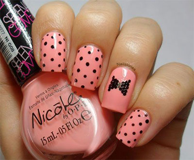 Black Polka Dots On Peach Nails With Bow Design