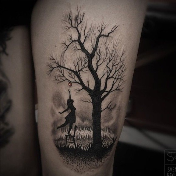 small moon and forest tree tattoos on wrist. Black Bedroom Furniture Sets. Home Design Ideas