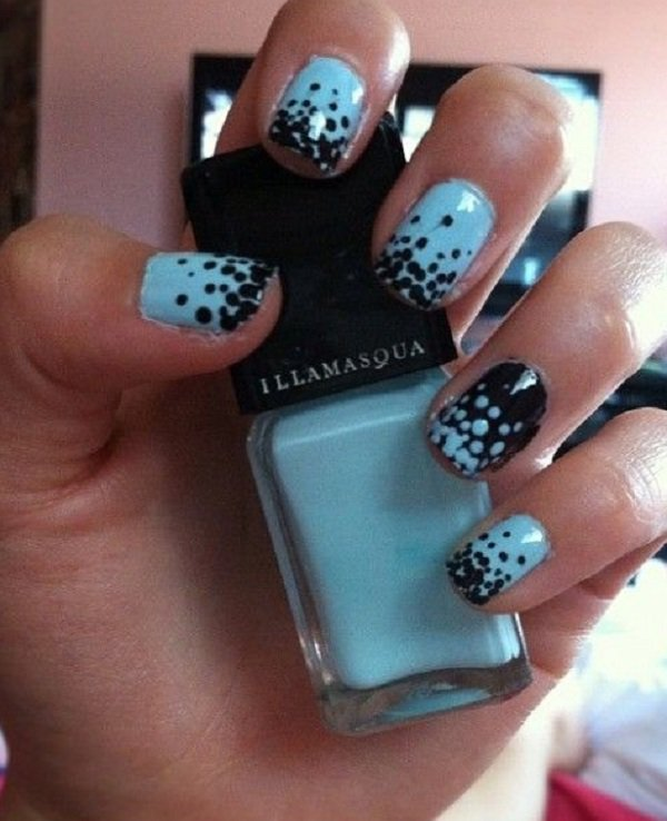 Blue And Black Polka Dots Nail Art Design