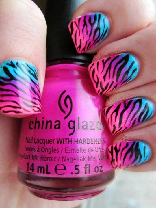 Pink Zebra Nail Art Nailarts Ideas