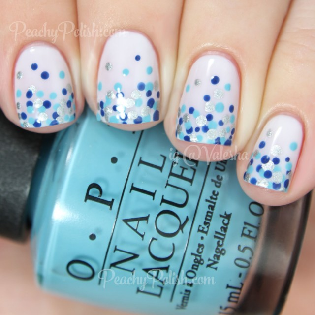 Blue And Silver Polka Dots Nail Art On White Nails