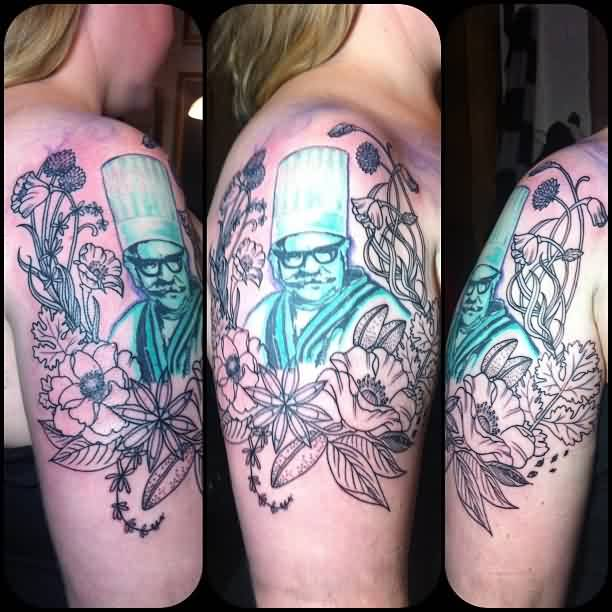 Blue Ink Chef Portrait In Flowers Tattoo On Half Sleeve For Girl