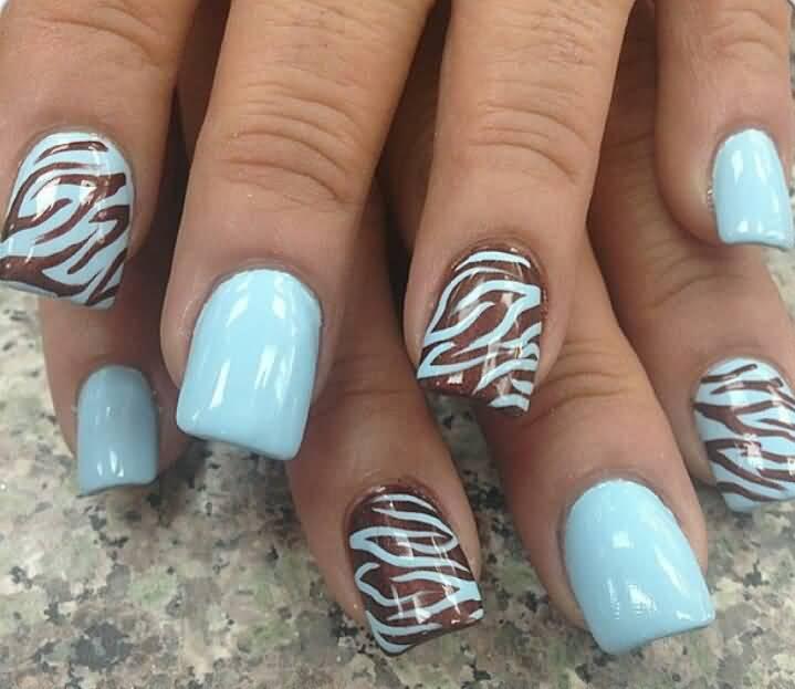 Blue Nails With Brown Zebra Print Nail Art