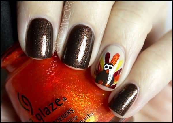 Brown gel nails with accent turkey design thanksgiving nail art prinsesfo Gallery