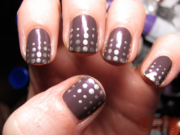 Brown Nails With Silver Polka Dots Nail Art