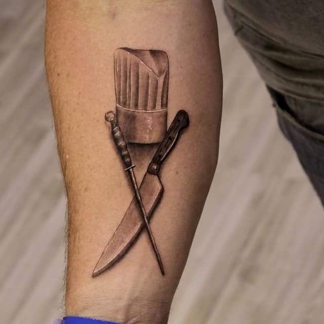 Chef Knife Tattoos, Sketches, and Designs 10