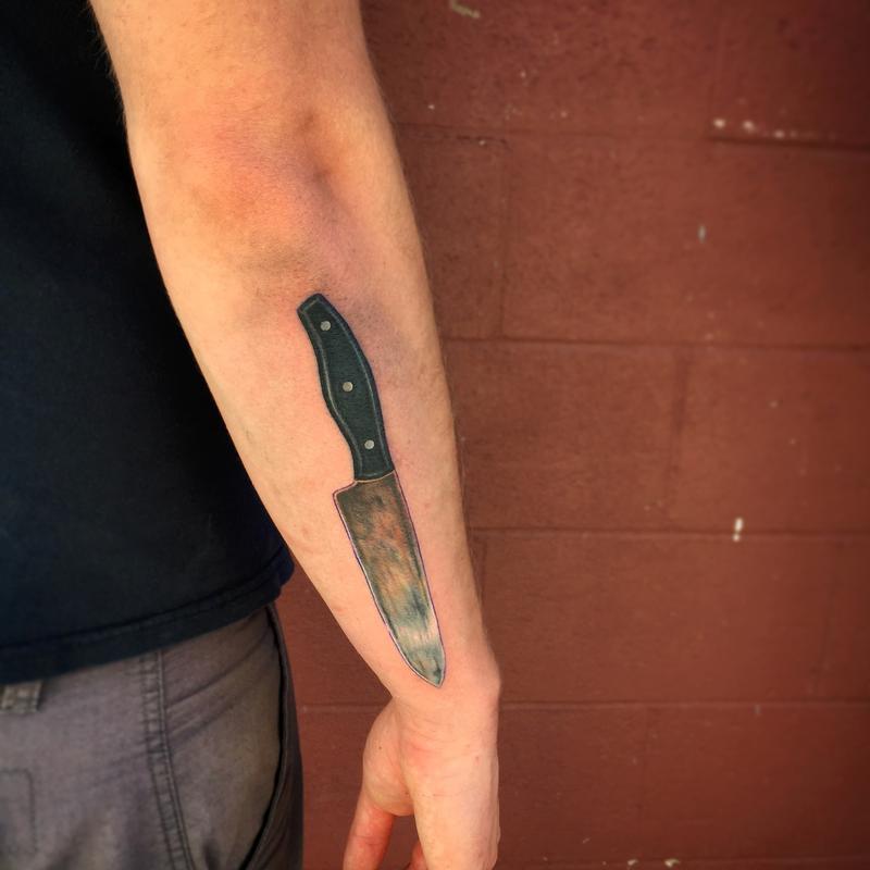 chef knife tattoo on half sleeve by nateosborne. Black Bedroom Furniture Sets. Home Design Ideas