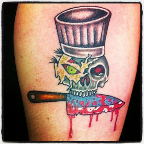 21 awesome chef knife tattoos for Blood drop tattoo