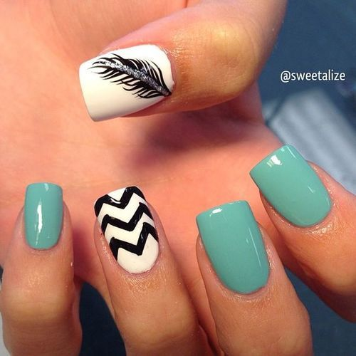 Chevron Design And Black Feather Design Nail Art