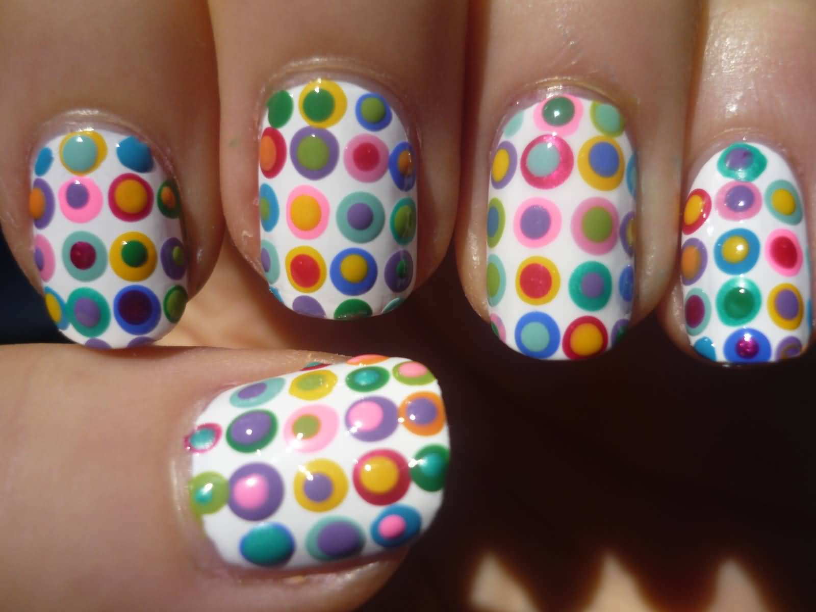 Colorful Polka Dots Nail Design